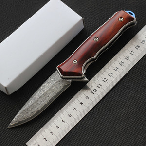 Wholesale tactical folding knife damascus for sale - Group buy Damascus folding knife ST1502 Flipper Ball Bearing Pocket Knife wood handle CNC Tactical knives Survival EDC Utility camping hunting knife