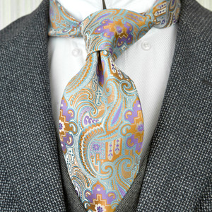 Wholesale F25 Multicolor Light Blue Azure Orange Purple Pattern Floral Mens Ties Neckties Silk Jacquard Woven Beautiful