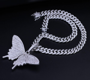 Wholesale Iced Out Animal Big Butterfly Pendant Necklace Silver Blue Plated Mens Hip Hop Bling Jewelry Gift M073F