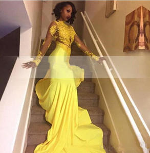 2019 real Pretty Yellow African Lace Appliqued South African Prom Dress Mermaid Long Sleeve Banquet Evening Party Gown Custom Made Plus Size on Sale