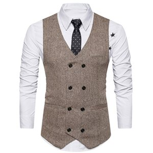 Tweed Men Suit Vest 2018 Khaki Formal Dress Suit Vest Woolen Fashion Slim Fit Waistcoat New Arrival