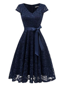 Wholesale bridesmaids dresses fast resale online - Dark Navy Fashion V neck Lace Ball Gown Cap Sleeves Bridesmaid Dress Fast Shipping Party Dress Knee length For Wedding