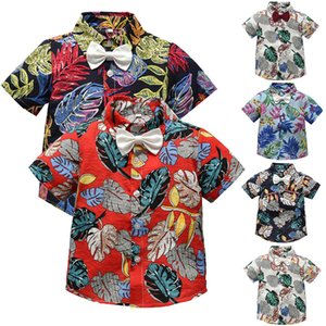 Wholesale Kids Baby Boy Print Floral T Shirt Summer Toddler Baby Bow Tie Gentleman Leaf Short Sleeve T Shirt Tops Clothes BL2