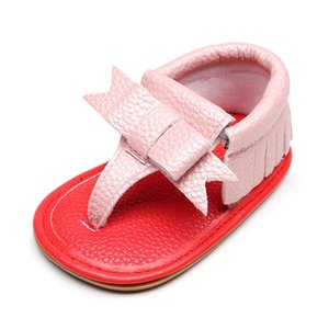 2019 Summer Newborn Sandals PU Leather Tassel Red Bottom Sandals For Baby Girls Hard Sole Non-slip Baby Shoes on Sale