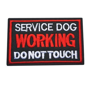 Wholesale 10x6CM Embroidery Sew Iron On Patches Letters Working Service Dog Black Red Badges For Dress Bag Jeans Hat T Shirt DIY Appliques Decor