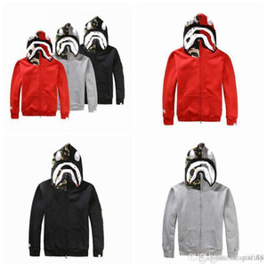 Wholesale fashion brand men's clothing savage shark head embroidered men's plus velvet sweater wear hooded jacket. on Sale
