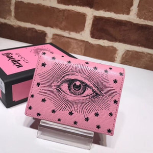 Wholesale Top Quality Luxury Celebrity Design Letterprinting Eyes Star Two Fold Wallet Real Leather Pink Short Purse Clutch