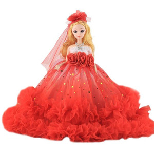 Random Color Children's Princess Doll Toy Wedding Dress Style Golden Curls Hair Bride Doll Decorations For Girls Gift