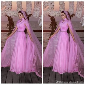 Fuchsia High Neck A-Line Prom Dresses Chiffon Sweep Train Long Formal Evening Party Gowns Dresses Evening Wear Ogstuff Vestidos on Sale