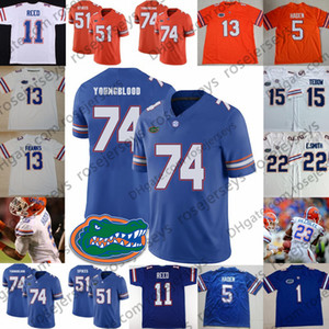 ingrosso royals pullover giovani-NCAA Florida Gators Jack Youngblood Percy Harvin Mike Gillislee Mike Pouncey Royal Blue Orange White Maglia da calcio ritirata