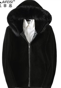 Wholesale Sheep sheared fur jacket men's short leather leather tide hooded fox fur collar one coat