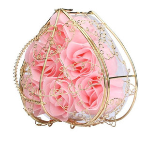 6Pcs Box Handmade Scented Rose Soap Flower Romantic Bath Body Soap Rose with Gilded Basket For Valentine Wedding Gift