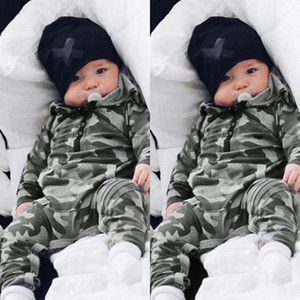 Wholesale High Quality baby kids designer clothes Romper Long Sleeve Camouflage Print Hooded Jumpsuit cotton Baby rompers T