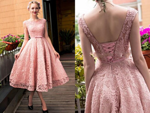Blush Tea Length Lace Party Bridesmaid Dresses 2019 Elegant Backless Corset Back Cap Short Sleeves Cocktail Prom Homecoming Dress Cheap New on Sale