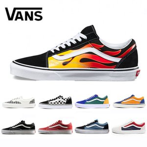 e38736cb283e Flames Vans Original old skool YACHT CLUB Skate shoes black blue red  Classic men women canvas
