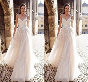 Wholesale Modern V neck Empire Wedding Dresses Bridal Gowns with Spaghetti Straps Applique Lace Soft Tulle Wedding Bridal Gowns Cheap vestidos De