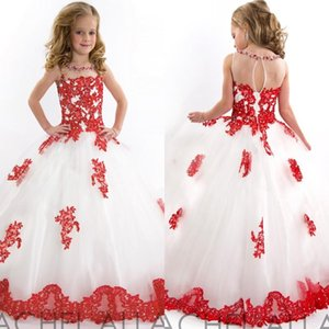 Wholesale Best Selling White and Red Wedding Party Flower Girls Dresses O Neck Floor Length Lace Appliqued Children Pageant Dresses
