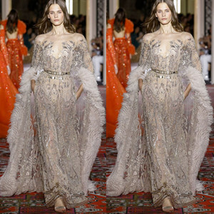 Zuhair Murad New Sparkly Evening Dresses With Fur Wraps Illusion Sheer Neck Crystal Celebrity Pageant Gowns Custom Long Sleeve Prom Dress on Sale