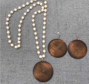 Wholesale CHEAP HANDMADE PEARL CHAIN WOOD DISC PENDANT NECKLACE EARRING SET Monogram necklace earrings set free home delivery