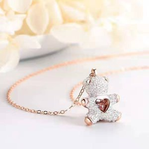 Wholesale 2019SHI home new pink diamond teddy smart white bear necklace flash heart fashion pendant is cute