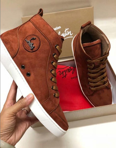 Wholesale 3A New mens women high top green suede red bottom casual shoes fashion gentleman designer lace up sneakers size