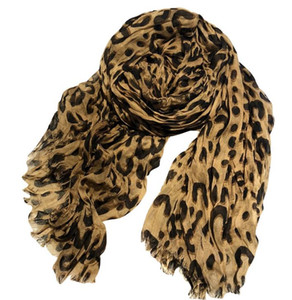 Wholesale luxury autumn winter new leopard tassel wrinkles casual wild ladies scarf classic print pattern cotton creasing Scarf big size cm cm