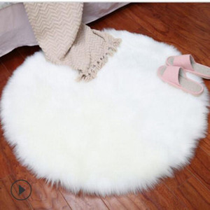 Wholesale round fur rug resale online - New Soft Faux Fur Wool Living Room Sofa Carpet Plush Carpets Bedroom Cover Mattress Xmas Door Window Round Rugs Carpets40