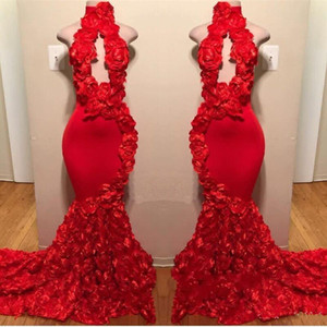 Wholesale New Design Red Mermaid Prom Dresses 2019 Appliques High Neck Sexy Formal Evening Dress Sweep Train Satin Fashion Cocktail Party Gowns