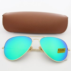 Wholesale 1pcs designer brand new classic pilot sunglasses fashion women sun glasses vassl uv400 matte gold frame green mirror mm lens with box