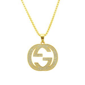 Wholesale Top Fashion Designer Necklace Luxury Rhinestone Crystal Mens Necklace Geometric Letter G Iced Out Pendant Personality Gold Plated Jewelry