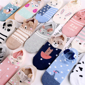 Wholesale New product boat socks Ladies spring and summer Korean cartoon creative cotton low help Japanese shallow mouth short socks