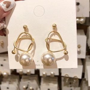 Wholesale AOMU New Korean Gold Metal Line Twisted Hollow Out Big Pearl Long Earrings for Women Girl Wedding Party Gift