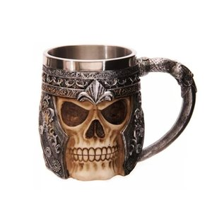 Wholesale Novetly Mug Cup Double Wall Stainless Steel D Skull Cup Coffee Skull Knight Tankard Dragon Personalized Drinking Cup Canecas Y200107