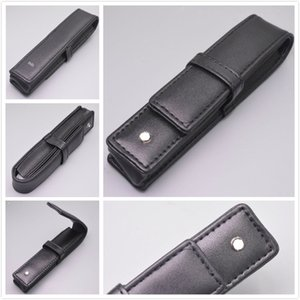 Wholesale Black PU or Genuine Leather Pen Case Stationery Office High Quality Pen Pouch Brand Set Gift Pencil Bag
