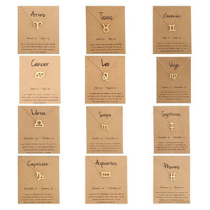 Wholesale pendant gold men resale online - Hot zodiac Necklaces with Gift card constellation sign Pendant Gold chains Necklace For Men Women Fashion Jewelry in Bulk