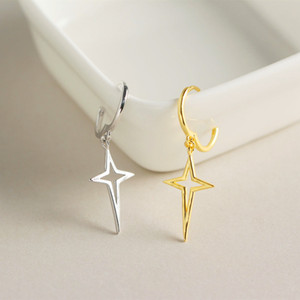 Wholesale Luxury Female Simple Cross Clip Earrings Vintage Real Sterling Silver Gold Jewelry Small Double Earrings For Women