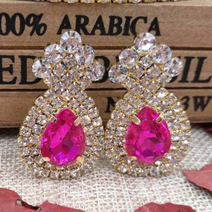 Wholesale zerongE jewelry fushia crystyal Dangle Earring lady gold green clear yellow red royal blue colorful stone luxury crystal earring