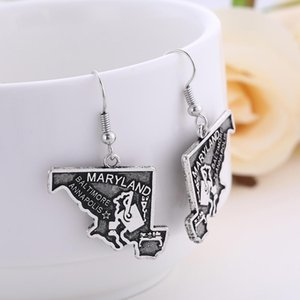 Wholesale maps of USA States Maryland Massachusetts Minnesota Mississippi Antique Sliver Color Earrings Free Shipping 2019 NEW