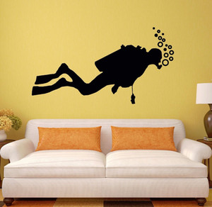 Wholesale Diver Wall Decal Vinyl Diving Ocean Sea Extreme Sports Wall Sticker Ocean Style Design Decor Marine Wall Art Vinyl Decal