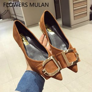 Wholesale Brown Black Suede Women Flats Hot New Pointed Toe Soft Rubber Heels Shoes Woman Metallic D Girl Mules Slip On Loafers