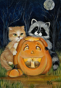 Wholesale canvas art moon for sale - Group buy Oil Painting On Canvas Wall Art Cat Raccoon Halloween Pumpkin Moon Fall Leaves Autumn Large Picture Home Decor