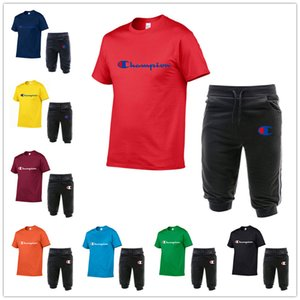 Champion Brand Mens Designer Tracksuits Short Sleeve T Shirt and Capri Pants Trousers 2 Piece Shorts Set Fashion Brand Men Sportswear C62603