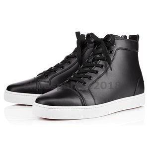 Wholesale With Box Womens Casual Shoe Prefer Luxury Party Shoes Spikes Red Bottom Sneaker Flat Mens High Top Lace up Fashion Wedding Black Chaussures