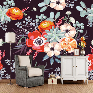 цветочные обои оптовых-Custom mural wallpaper flowers vintage floral murals for living room bedroom background decorative waterproof wallpaper