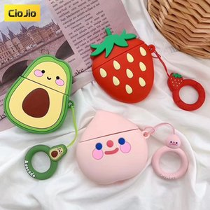Summer Fruit Cute Bluetooth Headset Silicone Case for Airpods 1 2 Protective Cover with Finger strap ring on Sale