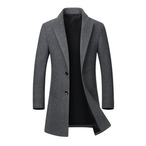 Wholesale Hot Sale Winter Wool Jacket Men s High quality Casual Slim Collar Wool Coat Men s Long Cotton Collar Trench Coat Dropshipping