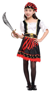Wholesale Shanghai Story Halloween Caribbean Pirate Cosplay Costume for children Girl Party cap dress up without sword