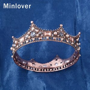 Wholesale Minlover Vintage Crystal Full Round Baroque Bride Tiara Crown Wedding Hair Accessories For Women Men King Diadem Headpiece Hg184 MX190816