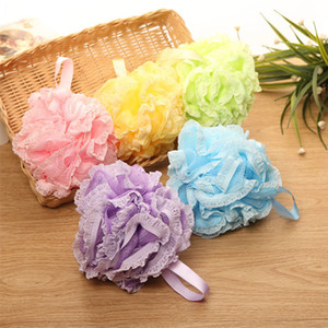 Wholesale Multi Colors g Bath Shower Sponge Pouf Loofahs Nylon Mesh Brush Shower Ball lace edge Mesh Bath