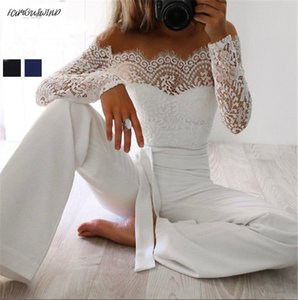 Wholesale Lace Fashion Super Jumpsuits Summer Spring Women High Quality Lace Patchwork Embroidery Sexy Party Jumpsuit Rompers Ladies Bodysuits